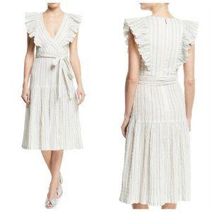 Rebecca Taylor Blue Stripe Wrap Ruffle Dress 10